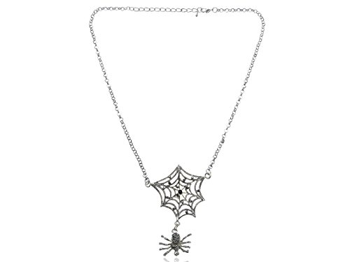 Alilang Womens Silvery Tone Grey Rhinestones Halloween Creepy Spider Web Pendant Necklace (Spiderweb Rhinestone Necklace)