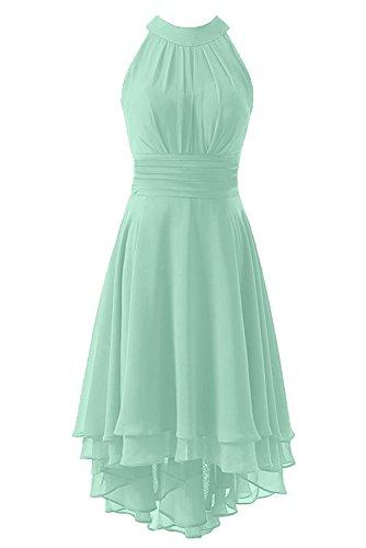 (Kevins Bridal Women's High Low Short Bridesmaid Dresses Chiffon Halter Prom Dress Mint Size 14)