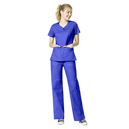 WonderFlex Women's Patience Curved Notch Neck Tops & Faith Multi-Pocket Cargo Pant Scrub Set [XXS - 5XL]+ FREE GIFT - Left Facing Bust