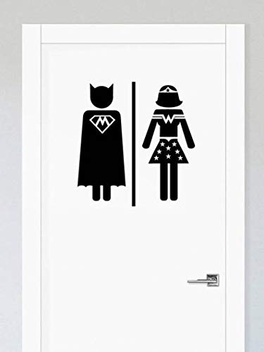 (Edvoynlm Men Women Toilet Sign, Restrooms Sign, Vinyl Sticker Decal Wall Art, Superhero Decal, Bathroom Sign, Toilet Decal, Door Sticker, Bathroom Decal (10'' x 10'', Set of 2))