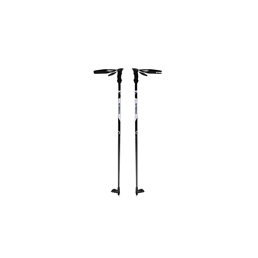 "ENKEEO Carbon Fiber Cross Country Ski Poles 48""/51"" Ultralight Pro Ski Poles with EVA Foam Handles and Compact Baskets (Silver&Black, 1 Pair)"
