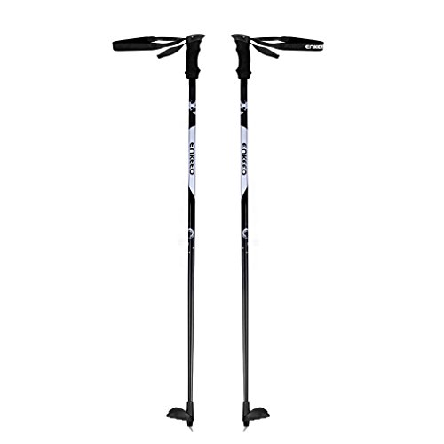 ENKEEO Carbon Fiber Cross Country Ski Poles 51' Ultralight Pro Ski Poles with EVA Foam Handles and Compact Baskets (Silver&Black, 1 Pair)