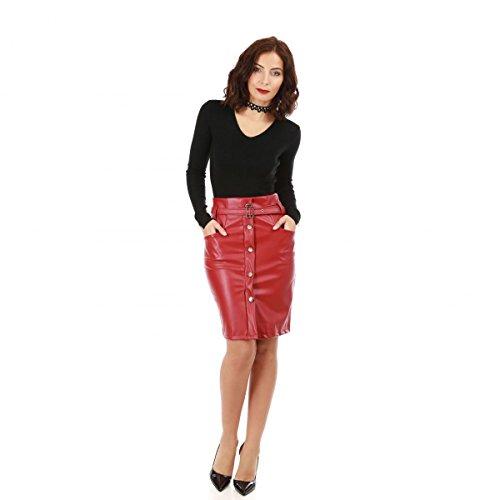 Cuir Jupe Crayon Simili La en Taille Haute Modeuse Rouge 0RPwqS