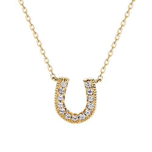 Carleen 14K Solid Yellow Gold 0.104ct Diamond Cute Lucky Horseshoe U Pendant Necklace for Women Girls, 16
