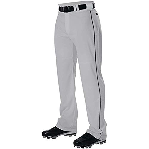 Alleson Adult Pro Warp-Knit Baseball Pants - Full Relaxed Fit with Piping - White/Scarlet - Medium ()