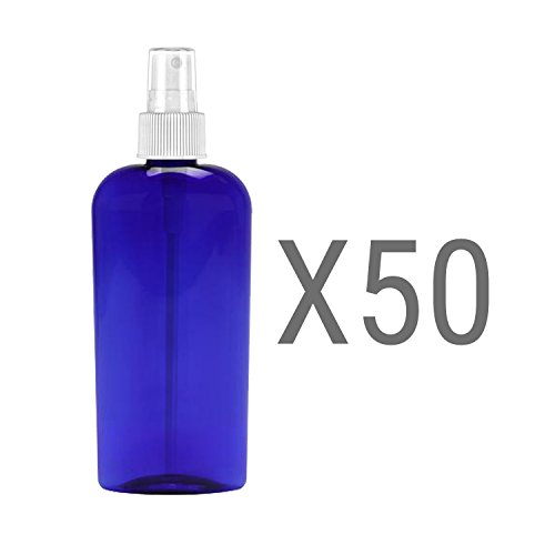 MoYo Natural Labs 8 Oz Large Mist Spray Bottle Refillable Reusable Empty 8 oz Fine Mist Bottle 3 Pack Cobalt Blue Oval 8 OZ Pack of 50 by MoYo Natural Labs (Image #4)