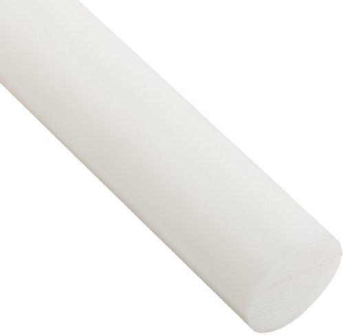 Acetal Round Rod, Opaque White, Meets ASTM D6100, 1-1/4
