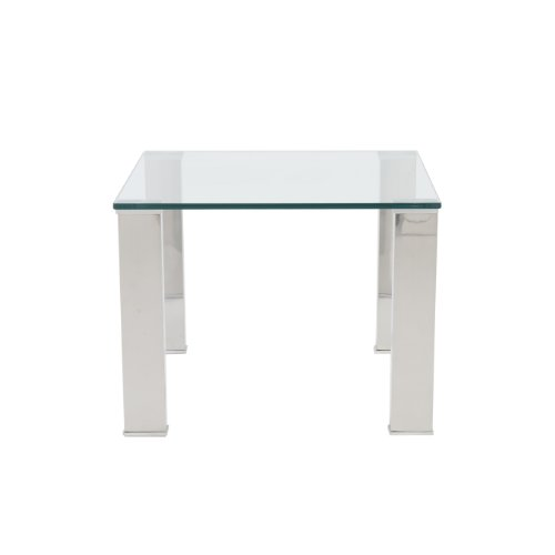 Eurø Style Beth Clear Glass Top Polished Stainless Steel Side Table For Sale