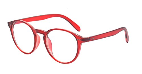 Kanles Super Comfortable Lightweight Retro Round Frame Reading Glasses Spring Hinge - Red Glasses Rimmed