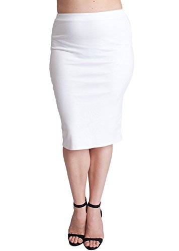 Woman Ivory Plus Size Banded Waistline Pencil Skirt
