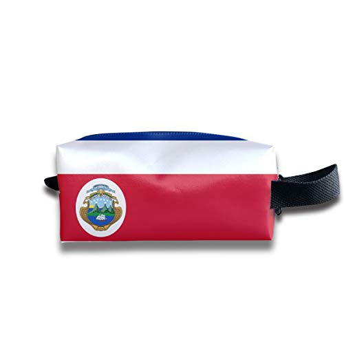 Szipry Cosmetic Bag Travel Handbag Costa Rica Flag Prints Womens Girls Toiletry Bag Zipper Wallet with Wrist Band