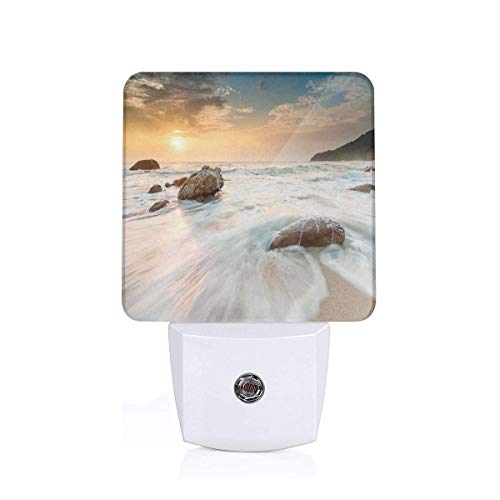 Colorful Plug in Night,Grand Sea Waves On Beach and Horizon Sky Holiday Calm Dream Season Photograph,Auto Sensor LED Dusk to Dawn Night Light Plug in Indoor for Childs Adults