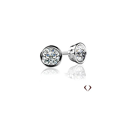 1.10CT F VS2-SI1 Bezel Round Cut Diamond - Round Vs2 Earrings Shopping Results
