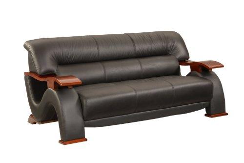 Global Furniture Black Leather (Global Furniture Parker Collection Leather Matching Sofa, Black)
