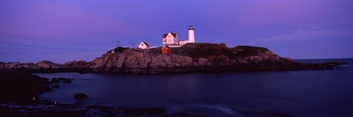 Walls 360 Peel & Stick Wall Mural: Nubble Lighthouse York County (36 in x 12 in) (Mural Lighthouse Wall York)