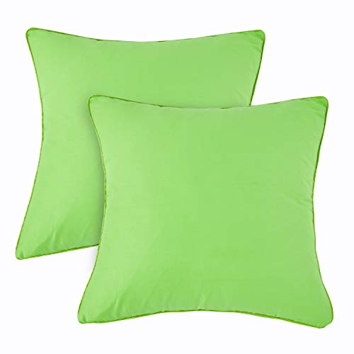 Apple Green Pillow - Set of 2 Solid Decorative Throw Pillow Covers Cases for Sofa Couch Bed,100% Cotton Square Pillow Covers Euro Shams Cozy Soft Cushion Covers 18x18 Inch,Best for Home Décor (Apple Green)