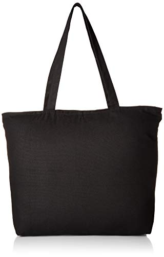 Jumbuzz Zip Top Heavy Canvas Tote Bag with Bottom Gusset, Black, Set of 1