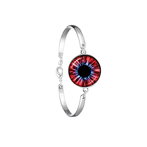 Red eye bracelet glass cat eye silver chain bracelet]()