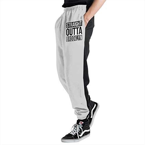 Xj64bd@KU Men's Straight Outta Brooklyn Jogger Sweatpants, Athletic Workout Pants for Men White]()