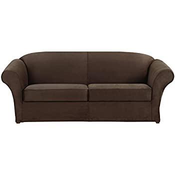 Sure Fit Ultimate Stretch Suede   Sofa Slipcover   Dark Chocolate (SF43616)