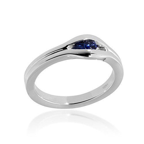 Gioiello Italiano - 18kt white gold ring with sapphires 0.12ct