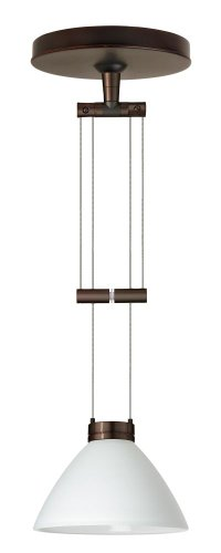 Besa Lighting 1XA-174307-BR 1X50W Gy6.35 Domi Pendant with White Glass, Bronze Finish