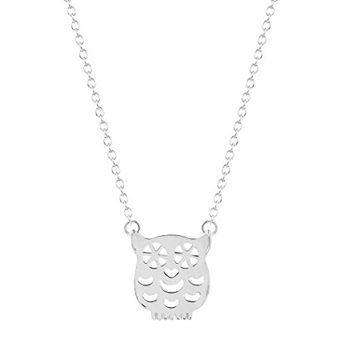 Frodete Geometric Origami Hollow Cute Owl Pendant Necklace Women Simple Lucky Little Animal Sweater Chain -