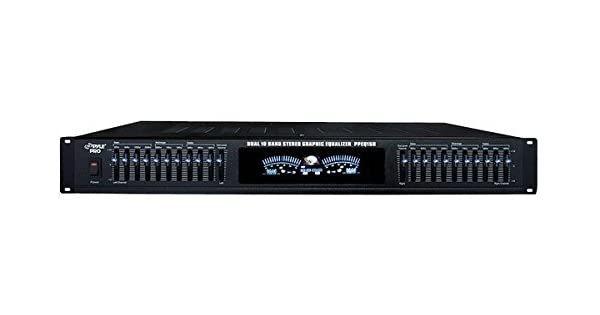 NEW Pyle 19 Rack Mount Dual 10 LED Band 4 Input Stereo VFD Spectrum Equalizer