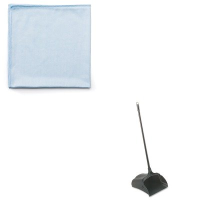 KITRCP253100BKRCPQ630 - Value Kit - Rubbermaid-Black Lobby Pro Upright Dust Pan, Open Style (RCP253100BK) and Rubbermaid Reusable Cleaning Cloths (RCPQ630)