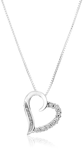 10k White Gold Round and Diamond Heart Pendant Necklace (1/10 cttw), 18