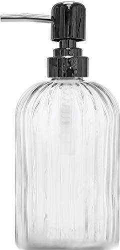Circleware 06270 Optic Square Bottom Glass Dispenser Bottle Pump Home and Bathroom Accessories, Farmhouse Decor for Essential Oils, Lotions, Liquid Soaps, 13 oz, Clear