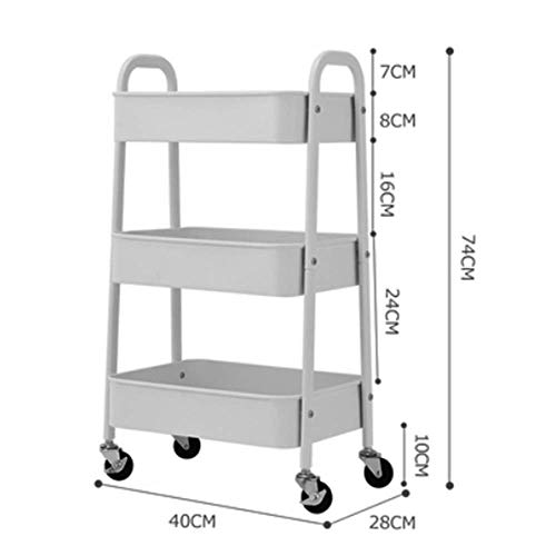 HUO 3-Tier Rolling Storage Trolley Kitchen Bathroom Floor Rack - 3 Colors-402874cm Multifunction (Color : A) by Kitchen shelf (Image #1)