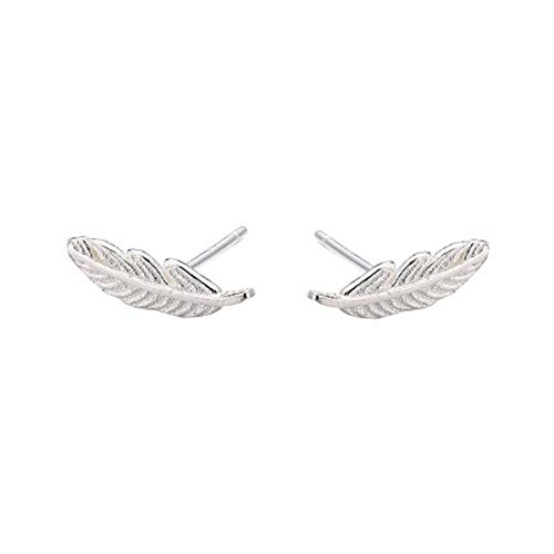 SLUYNZ Genuine 925 Sterling Silver Tiny Feather Studs Earrings for Women Teen Girls Sterling Silver Studs Earrings (Color 1) (Feather Earrings Silver)