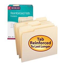 einforced 1/3-Cut Tab, Letter Size, Manila, 100 Per Box (10334) (Cut Manila)