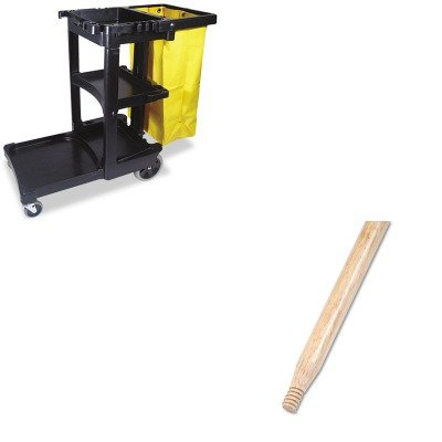 KITBWK137RCP617388BK - Value Kit - Boardwalk Heavy-Duty Threaded End Lacquered Hardwood Broom Handle (BWK137) and Rubbermaid Cleaning Cart with Zippered Yellow Vinyl Bag, Black (RCP617388BK) by Boardwalk