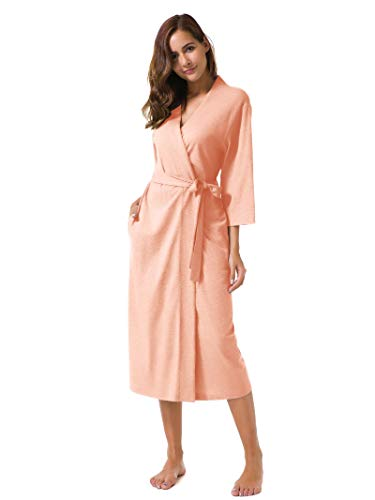 SIORO Women's Kimono Robes Cotton Lightweight Robe Long Knit Bathrobe Soft Nightgowns Sleepwear V-Neck Ladies Nightwear Peach M ()
