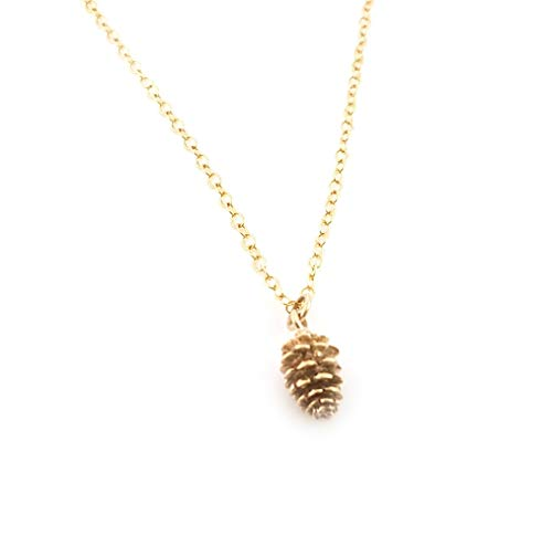 Tiny Pinecone Charm Necklace - 14k Gold Filled Jewelry]()