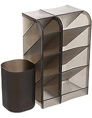 FOMIYES 3 st makeup displaybox med sminkborstar kopp skrivbord kosmetika organiserare läppstift hållare kopp för läppstift nagellack borstar grå
