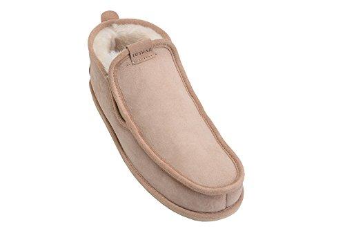 Rusnak Hommes En Peau De Mouton Luxe Mocassin Pantoufles Bottes Maison Chaussures Doublure En Laine Chaude Beige / Blanc