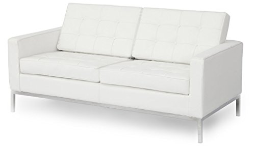 MLF Florence Knoll Style Loveseat Sofa(Multi Colors&Size Available), White Top Grain Italian Leather