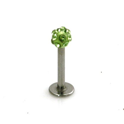 Stainless Steel Labret Style Lime Green Cubic Zirconia Lip Piercing Ring