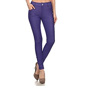 ICONOFLASH Women's Stretch Jeggings – Slimming Cotton Pull On Jean Like Leggings with Plus Size Options