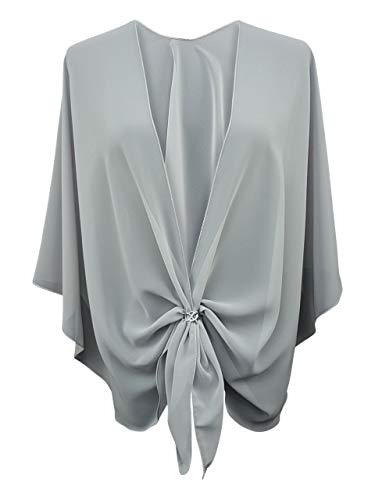 - eXcaped Women's Evening Shawl Wrap Sheer Chiffon Open Front Cape and Silver Scarf Ring (Silver Gray)