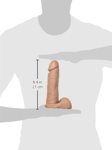 Doc Johnson The Realistic Cock with Removable Suction Cup - 8 Inch - F-Machine and Harness Compatible Dildo - Caramel