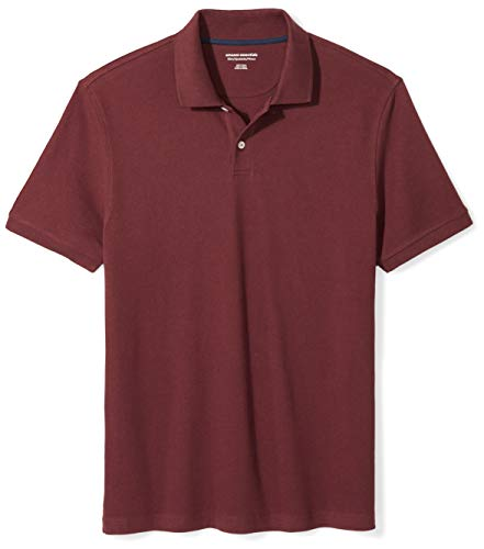 Amazon Essentials Men's Slim-Fit Cotton Pique Polo Shirt, Port, ()