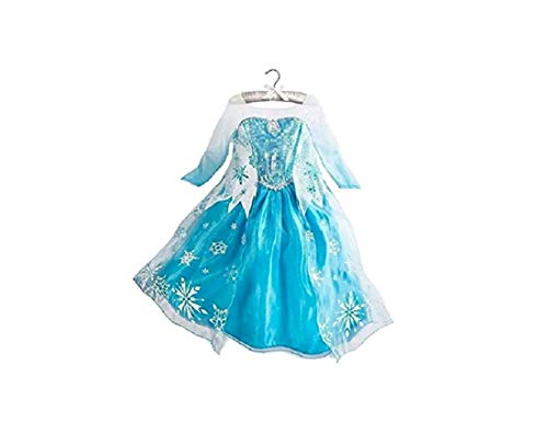 DaHeng Girls Princess Elsa Fancy Dress Costume (7-8years) Blue]()