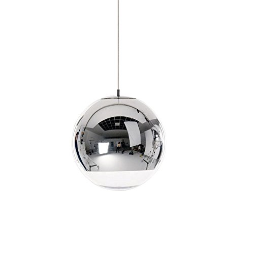 Ball Pendant Lamp (Injuicy Lighting Tom Dixon Ball Silver Electroplate Glass Bar Cafe Art Edison Ceiling Light Pendant Lamp (Silver 5.91 inch))
