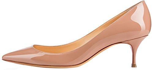 Calaier Kvinna Cabelow Pekade Tå 5.5cm Stilett Slip-on Pumpar Skor Beige