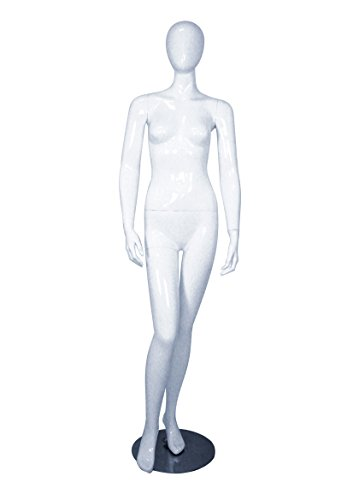 AMKO MICHELLE-1WHITE Female Mannequin with Head, Hands Down at Side, 32'', Glossy White by AMKO