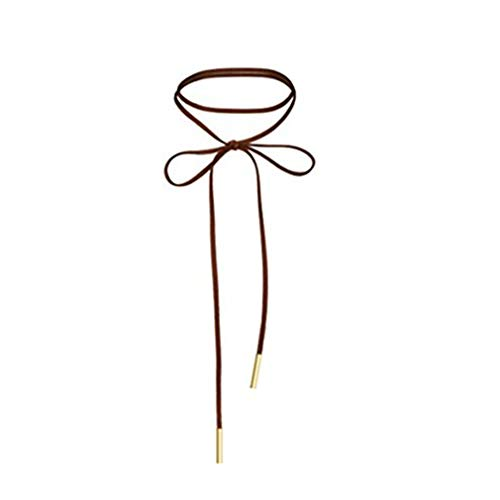 WaMLFac Alloy & Faux Leather Handmade Long Elastic Tassel Necklace, Brown, 63-Inch